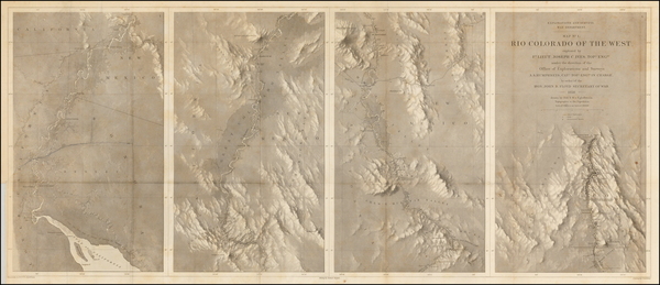 78-Southwest, Arizona, New Mexico and California Map By Joseph C. Ives