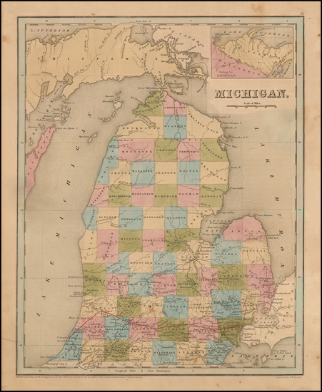 Midwest and Michigan Map By Thomas Gamaliel Bradford