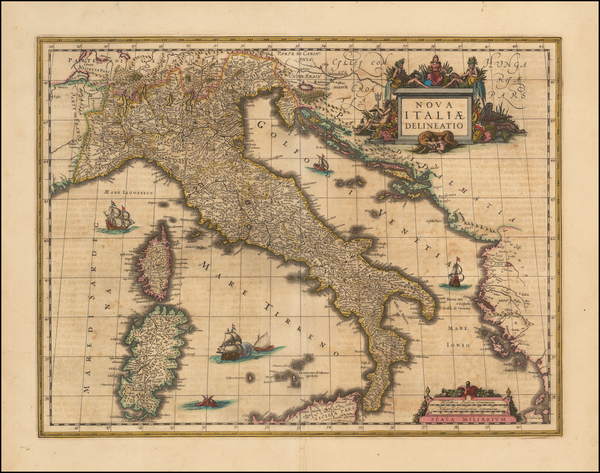 43-Italy, Corsica and Sardinia Map By Willem Janszoon Blaeu