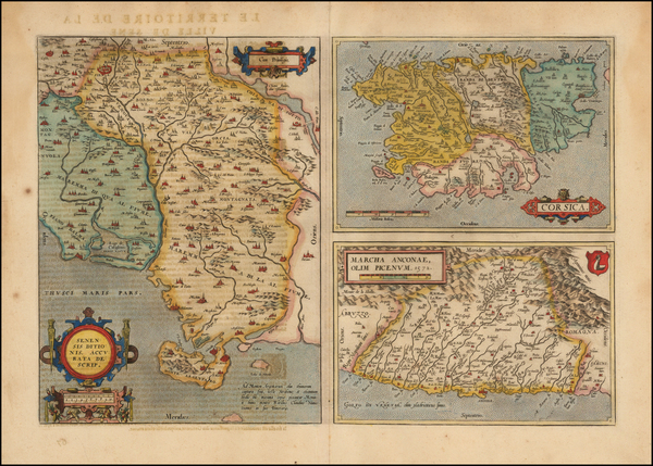 87-Northern Italy and Corsica Map By Abraham Ortelius