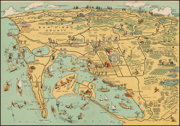 41-Pictorial Maps and California Map By Lowell E. Jones