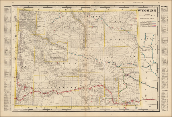 26-Plains, Rocky Mountains and Wyoming Map By George F. Cram