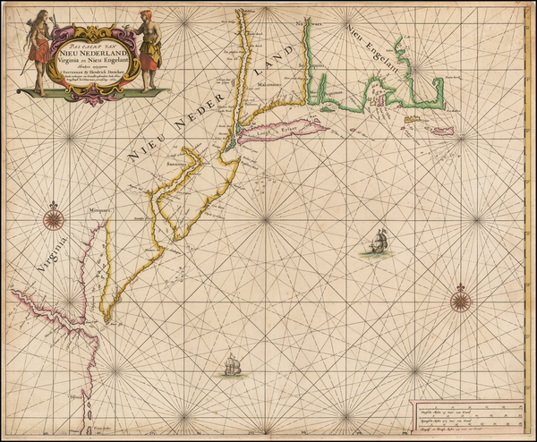 68-United States, New England, Mid-Atlantic and Southeast Map By Hendrick Doncker