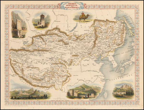 60-China, India, Central Asia & Caucasus and Russia in Asia Map By John Tallis