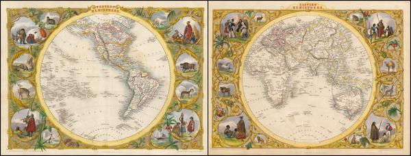 12-World, Eastern Hemisphere, Western Hemisphere, South America and America Map By John Tallis
