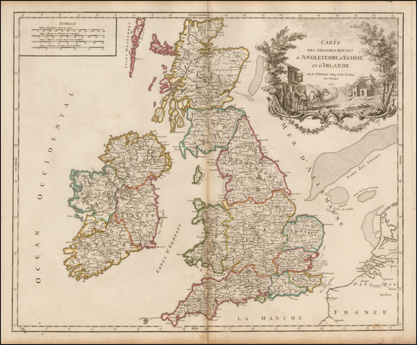 75-British Isles Map By Gilles Robert de Vaugondy