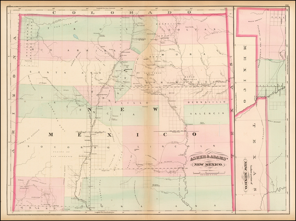 74-Southwest, New Mexico and Rocky Mountains Map By Asher  &  Adams