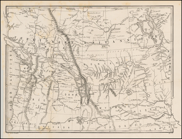 57-Plains, Rocky Mountains and Canada Map By Pierre De Smet