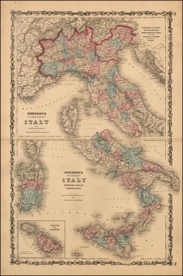 69-Italy and Balearic Islands Map By Benjamin P Ward  &  Alvin Jewett Johnson