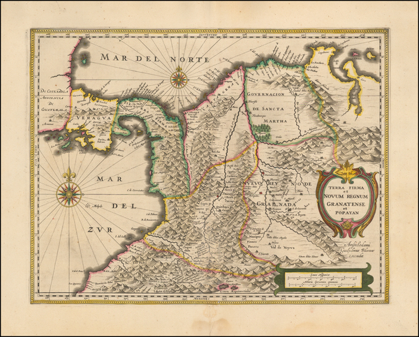 48-Colombia Map By Willem Janszoon Blaeu