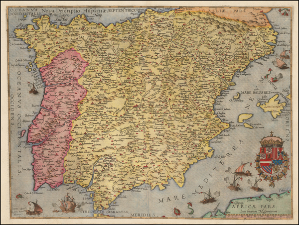 52-Spain and Portugal Map By Cornelis de Jode