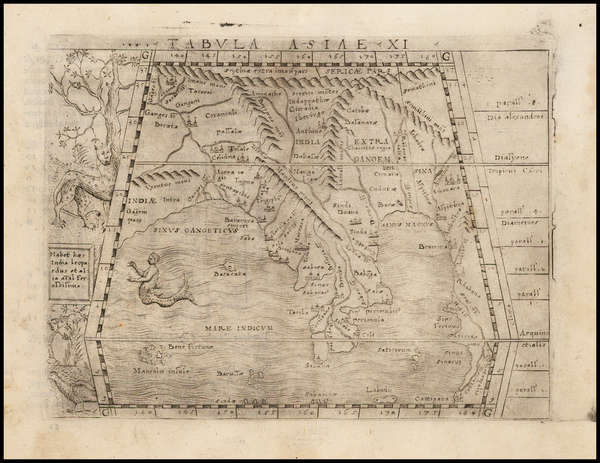 57-Indian Ocean, India and Southeast Asia Map By Giacomo Gastaldi