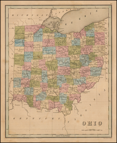 50-Ohio Map By Thomas Gamaliel Bradford
