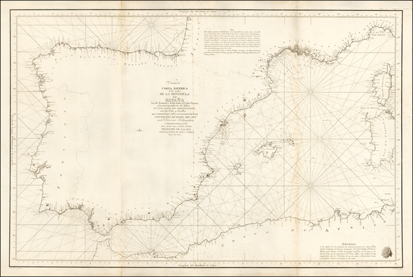 77-France, Italy, Spain and Balearic Islands Map By Don Vincente Tofiño de San Miguel
