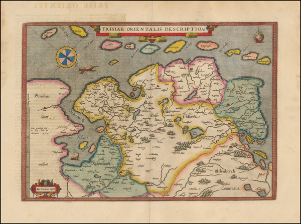 64-Netherlands and Germany Map By Abraham Ortelius