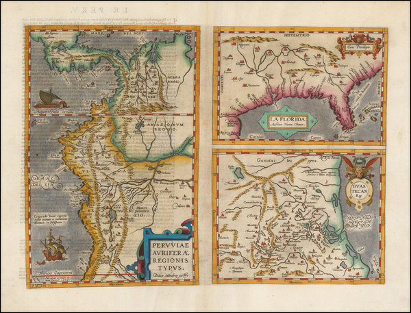 75-Florida, South, Southeast, Central America and South America Map By Abraham Ortelius