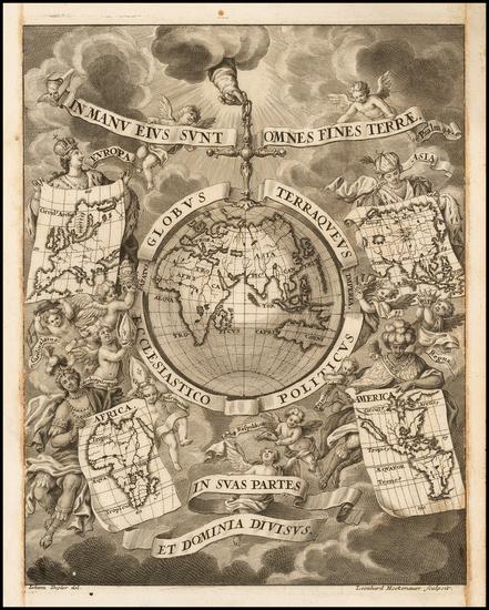 22-World, World and Eastern Hemisphere Map By Heinrich Scherer