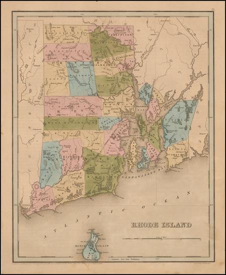 4-New England and Rhode Island Map By Thomas Gamaliel Bradford