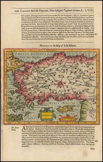 99-Greece, Turkey and Turkey & Asia Minor Map By Jodocus Hondius / Samuel Purchas