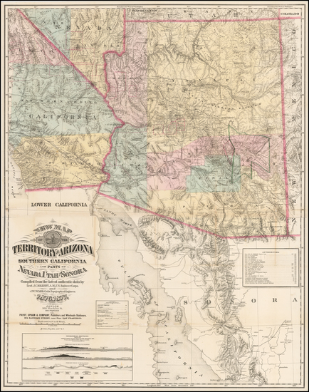0-Arizona, Utah, Nevada, Utah and California Map By J.C. Mallery / J.W. Ward