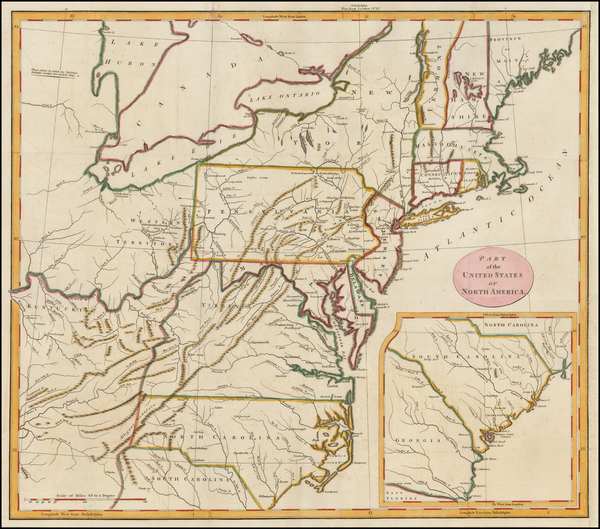 42-United States, Mid-Atlantic and Southeast Map By G. H. Loskiel