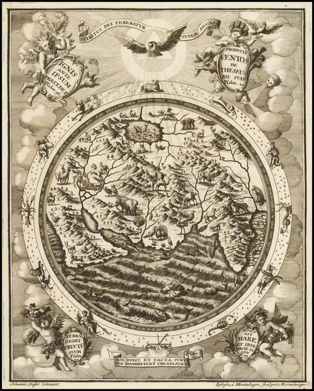95-World, World and Eastern Hemisphere Map By Heinrich Scherer