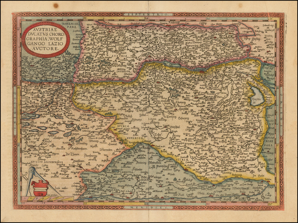 Austria, Hungary and Czech Republic & Slovakia Map By Abraham Ortelius