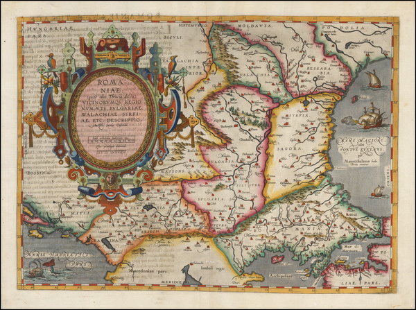 60-Ukraine, Romania and Balkans Map By Abraham Ortelius