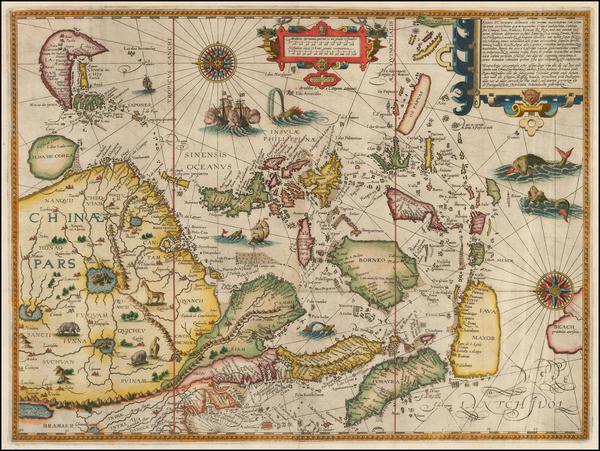 39-China, Japan, Korea, Southeast Asia and Philippines Map By Jan Huygen Van Linschoten