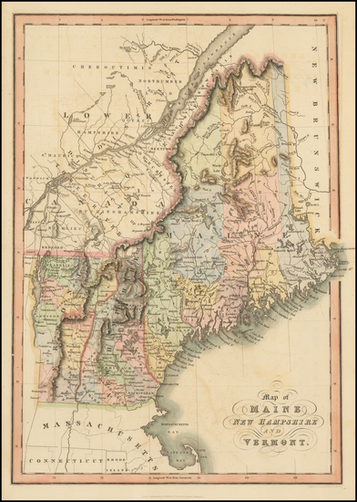 23-New England, Maine, New Hampshire and Vermont Map By Hinton, Simpkin & Marshall
