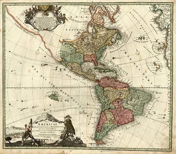 87-South America and America Map By Johann Baptist Homann
