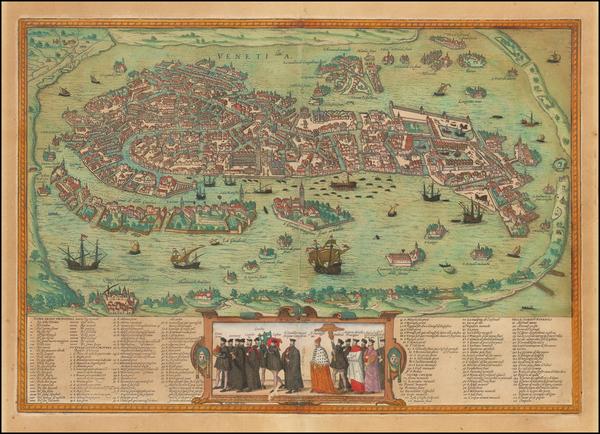 37-Italy Map By Georg Braun  &  Frans Hogenberg