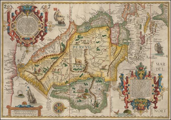 81-Polar Maps, Florida, South, Southeast, Caribbean, Central America, South America, Brazil and Am