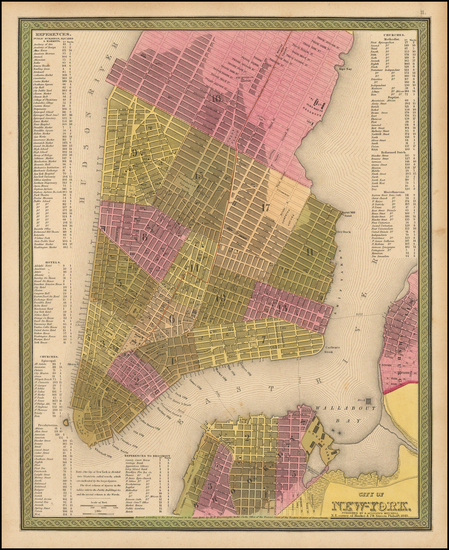 22-New York City Map By Samuel Augustus Mitchell