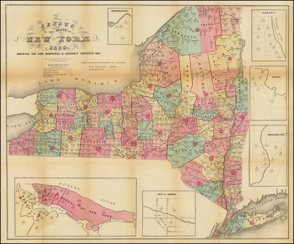 1-New York State Map By Valentine's Manual