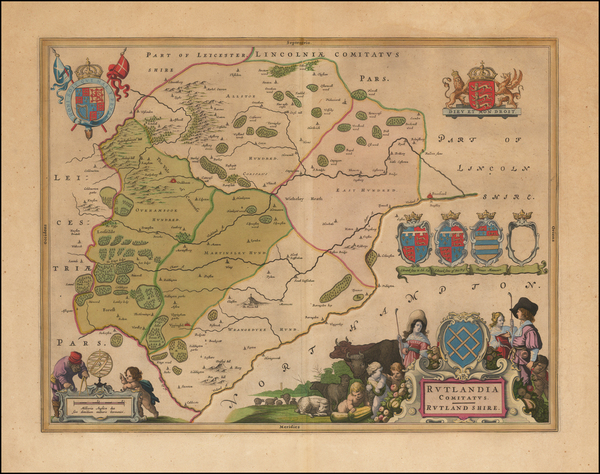 13-British Counties Map By Johannes Blaeu