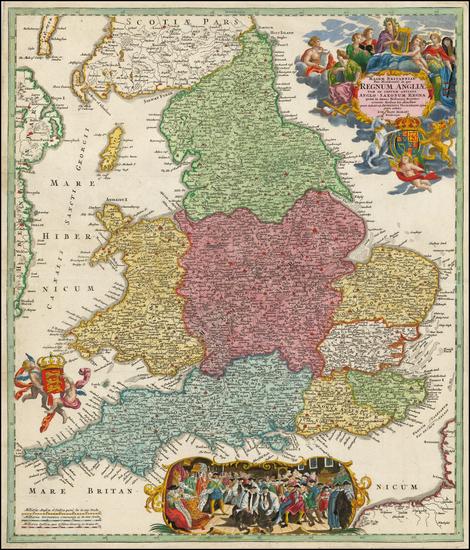 100-England Map By Johann Baptist Homann