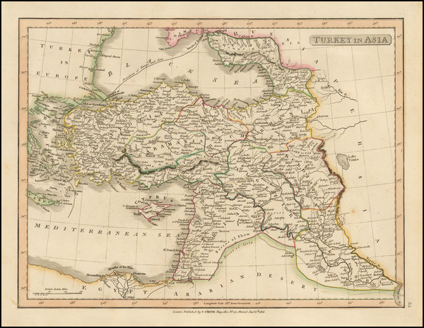 Turkey, Central Asia & Caucasus and Turkey & Asia Minor Map By Charles Smith