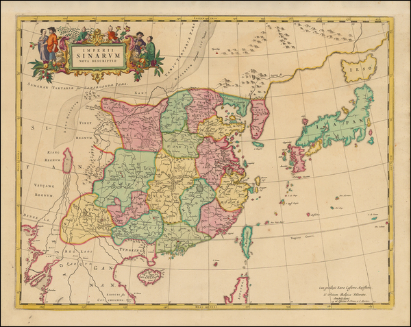 China and Korea Map By Johannes Covens  &  Pieter Mortier