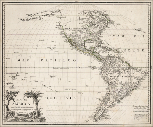 43-Hawaii, South America, Pacific, Hawaii, California and America Map By Tomás López