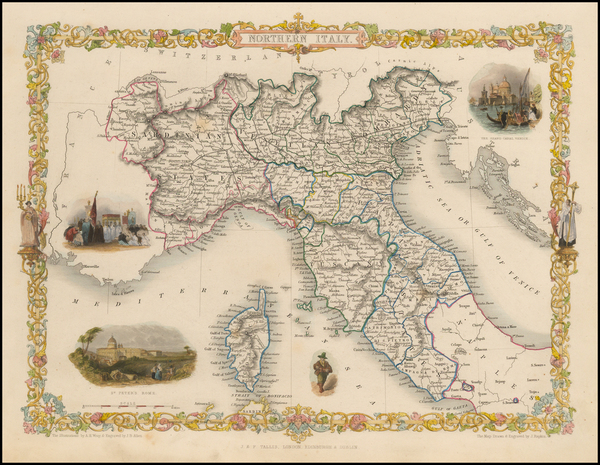 40-Italy, Northern Italy and Balearic Islands Map By John Tallis