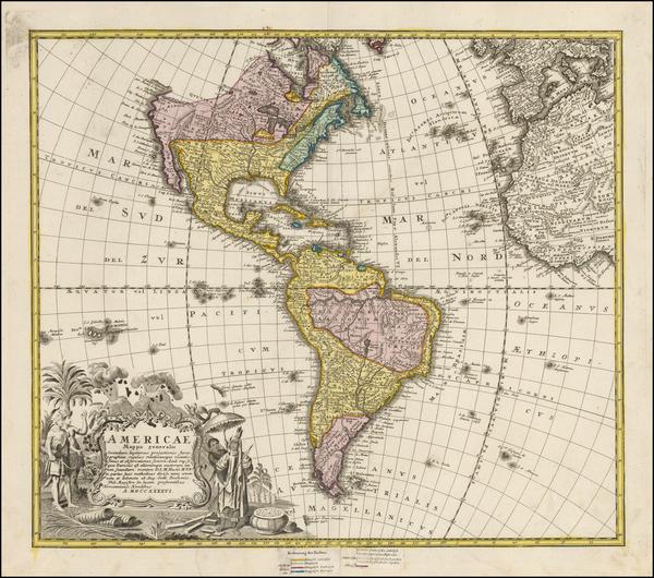44-America Map By Homann Heirs / Johann Matthaus Haas