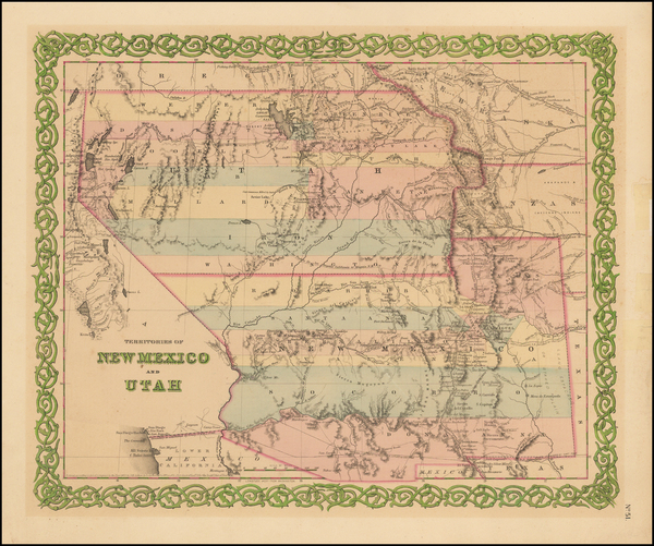 34-Southwest, Nevada, New Mexico, Rocky Mountains and Utah Map By Joseph Hutchins Colton