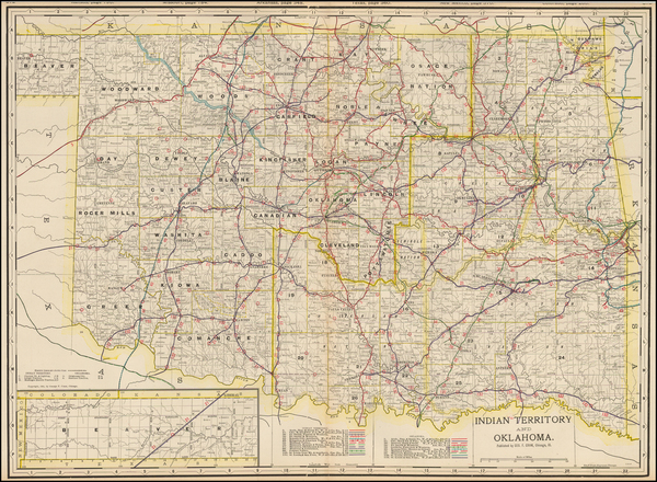 60-Plains, Oklahoma & Indian Territory and Southwest Map By George F. Cram