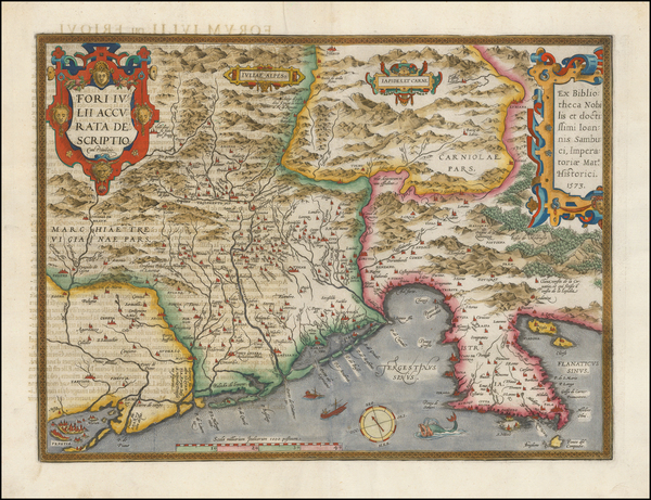 50-Balkans and Northern Italy Map By Abraham Ortelius