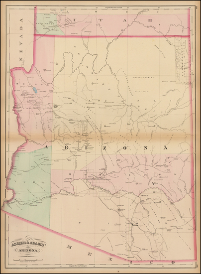 38-Southwest and Arizona Map By Asher  &  Adams