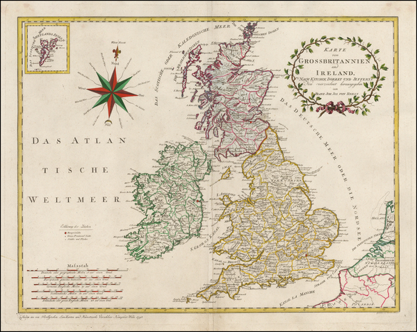 British Isles Map By Franz Johann Joseph von Reilly