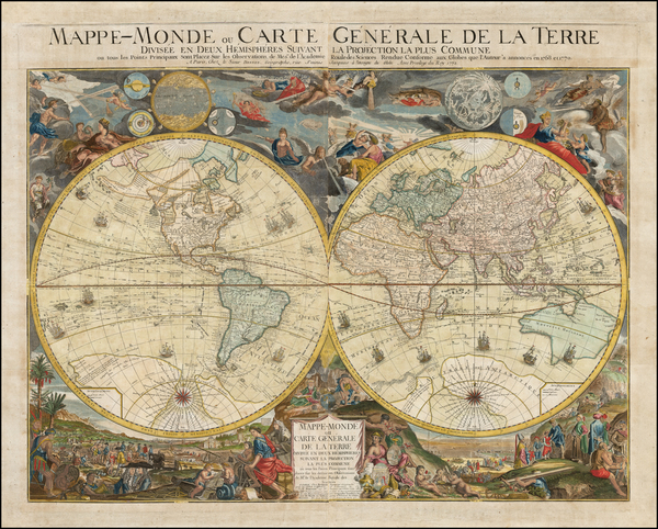 88-World and World Map By Louis Charles Desnos
