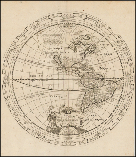 21-Western Hemisphere, South America and America Map By Melchior Tavernier
