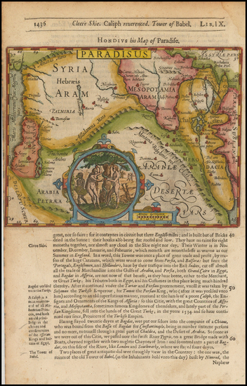 89-Middle East, Holy Land and Arabian Peninsula Map By Jodocus Hondius / Samuel Purchas
